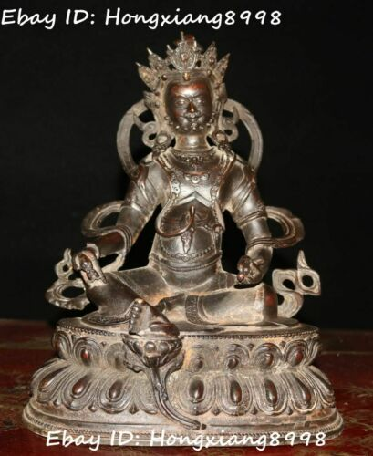 "8"" Old Tibet Buddhism Bronze Yellow Jambhala Wealth God Buddha Mouse Statue"