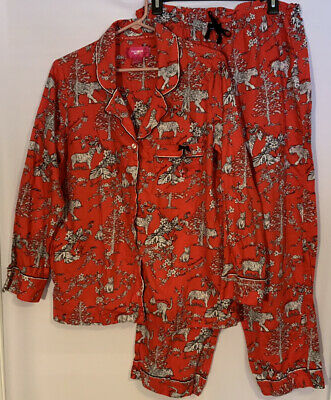 Victoria's Secret Women's Dreamer Toile Pajamas Red Flannel Tiger Print SZ Large
