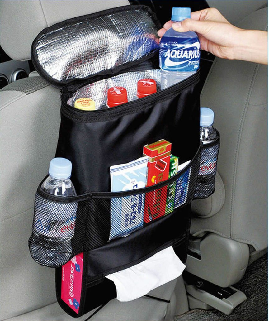 INSULATED CAR SEAT ORGANISER MULTIPLE COMPARTMENTS WITH TISSUE DISPENSER STORAGE