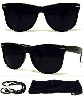MEN WOMEN Sunglasses Aviator Style Black Frame with Dark Lens - NEW! FREE CASE