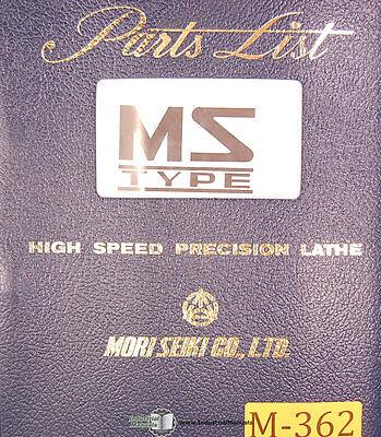Mori Seiki Ms S G Type Lathe Parts List Manual Year 1972