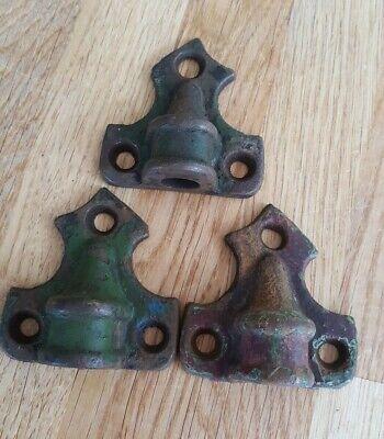 3 Vintage Iron Door Hinges Brackets Holder Architectural Antique