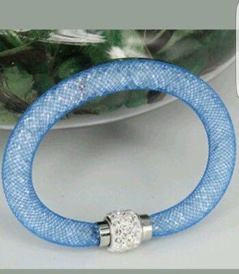 Kristallkugel Armreif Schlauch Magnetische Armbänder Strass blau  (Magnetische Kugeln Blau)