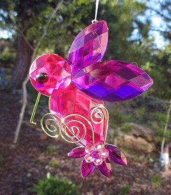 dd pink purple CRYSTAL EXPRESSIONS HUMMINGBIRD ORNAMENT SUN CATCHER ganz