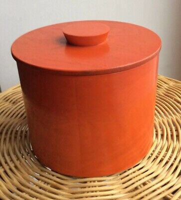 Vintage Mid Century Wooden Orange Stained Small Ice Bucket Retro Chic