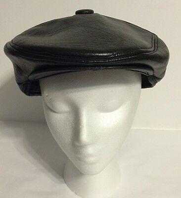 Vinyl Black Faux Leather Cabbie Newsboy Hat Cap W/ Fold Down Ear Covers 24