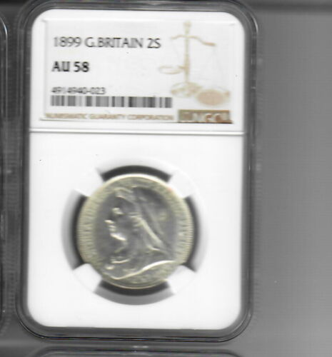 1899 Great Britain Florin NGC AU58