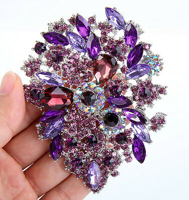 Brosche Anstecknadel Kristall Strass XXL Bouquet Blume lila silberfar Nadel edel