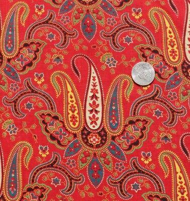 A Length of Marshall Fabric USA Blue Vintage Retro Paisley Fabric Material