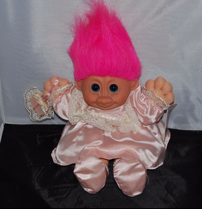 Russ's Troll brand Wedding FLOWER GIRL Pink outfit and Pillow 11 inches Tall