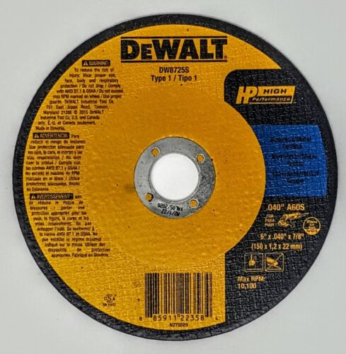 "(Box of 25) Dewalt DW8725S 6"" x .040"" x 7/8"" Metal/Stainless Cut-off Wheels"
