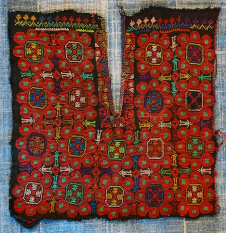 PALESTINIAN ANTIQUE DRESS FRONT VINTAGE HAND EMBROIDERY ARAB TEXTILE