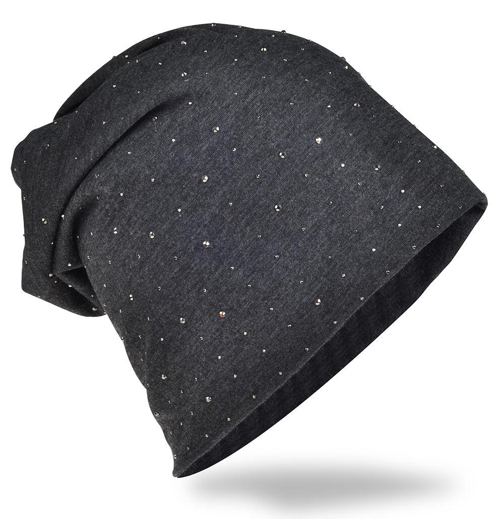 CASPAR MU167 Damen Winter Bommel Mütze Strickmütze Glitzer Stern Strass groß