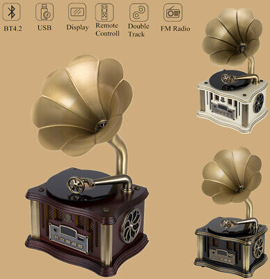 Vinyl Turntable Gramophone Phonograph Record Player Speaker FM Bluetooth M0U4