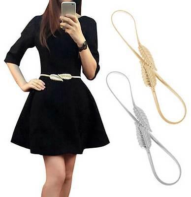 Women Belt Gold Silver LEAF Elastic Metal Stretch High Waist Dress Cummerbund  - Metal Stretch Dress
