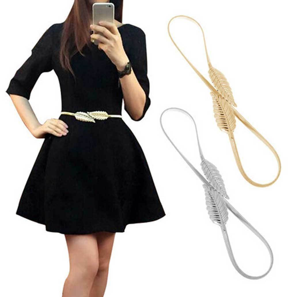 Women Belt Gold Silver LEAF Elastic Metal Stretch High Waist Dress Cummerbund Belts