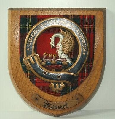 Vintage Stewart Tartan Crest Shield Plaque complete with motto