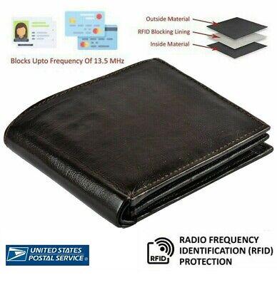 Mens Leather Wallet 100% Genuine Soft RFID safe Card Holder Purse US Stock