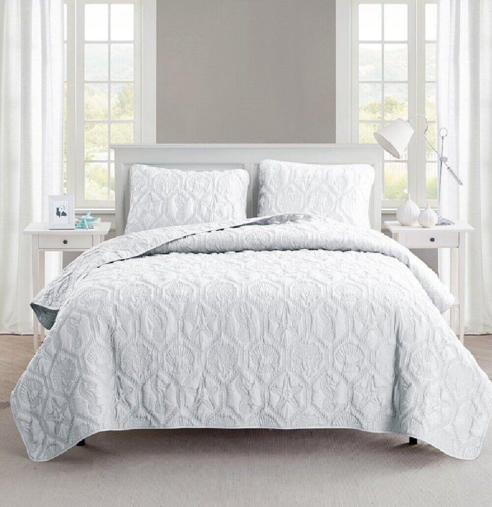 Coastal Quilt Set King Bed Cover White Beach Ocean Seashell