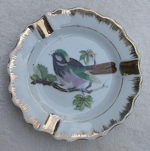 Vintage Song Bird Ashtrays 1960s Napco China gold leaf Japan set of 2 blue jay