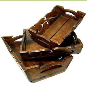 Rustic Teak Wood set of 3 Small Trays Handmade Carved Solid Baskets Tempe Marrickville Area Preview