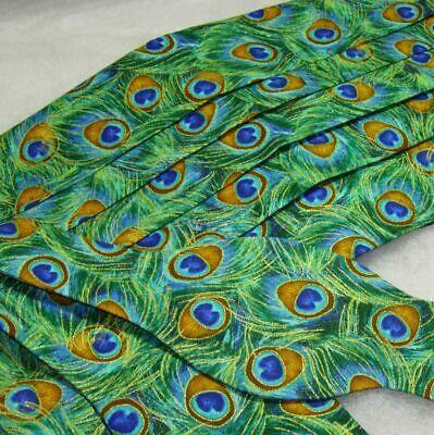 Jade Peacock Feathers Bow Tie & Cummerbund Set - Green Feathers with Gold Trim Gold Cummerbund-set