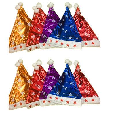 12xWeihnachtsmannmütze LED Sterne Plüschmütze Nikolaus Kostüm (Sterne Weihnachts Kostüm)