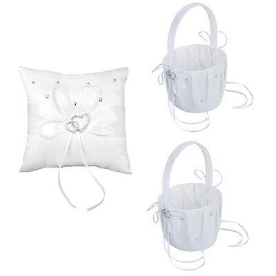 2 pcs White Flower Girl Basket Crystal Rhinestones Decor and 1 pcs