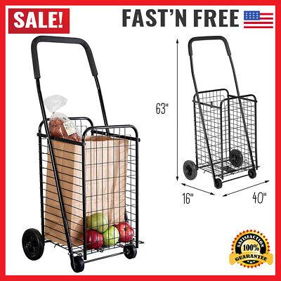 Folding Shopping Cart Jumbo Size Basket With Wheels For Laundry Travel Grocery