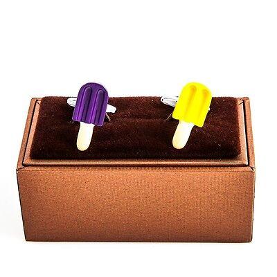 Popsicle Yellow & Purple Cufflinks Grape Wedding Fancy Gift Box Free Ship - Purple Popsicle