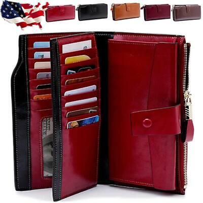 Women Genuine Leather Long Wallet Money Card Holder Clutch Purse RFID Blocking Money Long Wallet