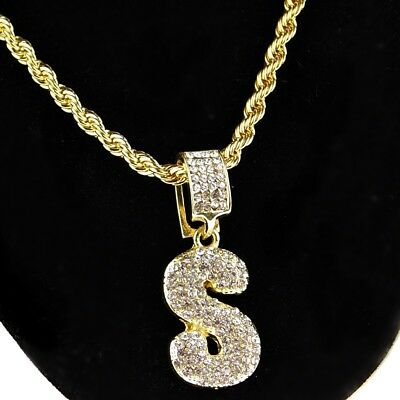 Bubble Letter S Initial Rope Chain Bling Pendant Gold Finish HipHop Necklace 24