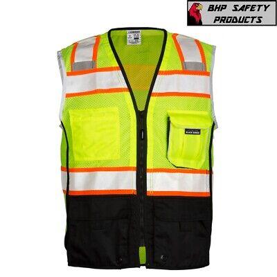Ml Kishigo Class 2 Reflective Black Bottom Safety Vest With Pockets Yellowlime