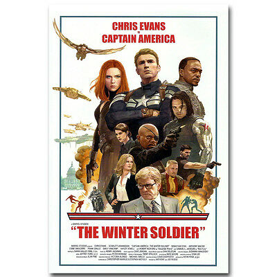 Captain America 2 The Winter Soldier Superheroes Movie Silk Poster 12x18 24x36
