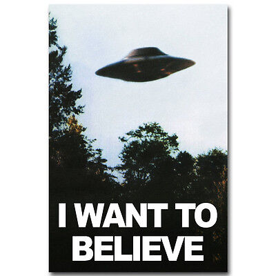 The X Files I Want To Believe Tv Art Silk Fabric Poster 12X18 24X36 Inch