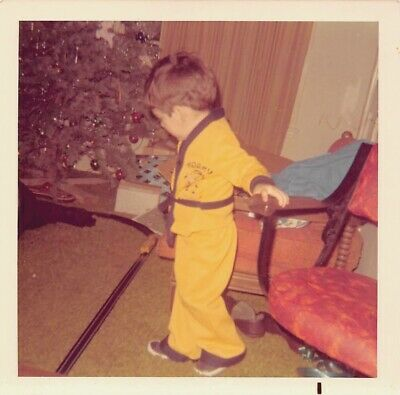 CHRISTMAS KARATE KID - BOY w/ TRAIN SET BY THE CHRISTMAS TREE VTG 70s PHOTO 245