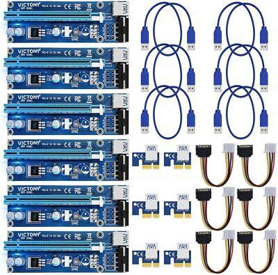 6 pc. USB 3.0 PCI-E Express 1x To 16x Extender Riser Card Lot Adapter MOLEX 0006