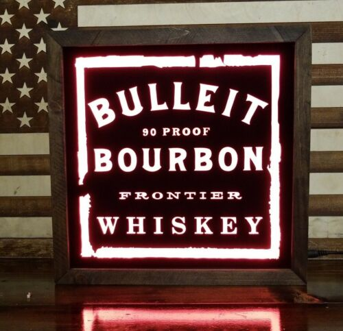 Bulleit Whiskey LED Sign Personalized, Home bar Sign 12x12