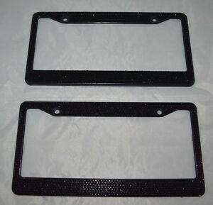 Black rhinestone license plate frame ebay for Mercedes benz license plate frame rhinestones