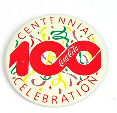 Coca Cola Coke 8 cm Pin Button Badge Anstecknadel USA - 100 Jahr Feier