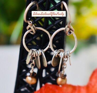 Silpada Sterling  Silver Disc Smoky Quartz & Copper Pearl  Dangle Earrings W1550 ()
