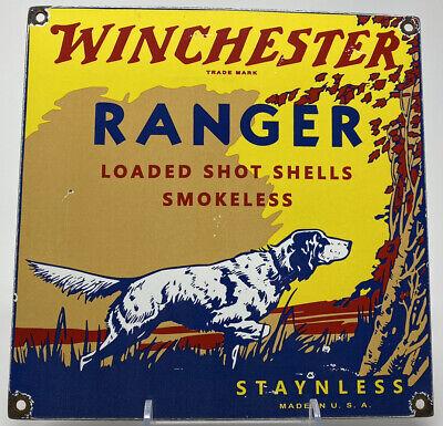 VINTAGE WINCHESTER PORCELAIN SIGN AMMO 12 GAUGE SHELLS HUNTING DOG SHOT GUN