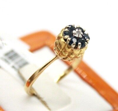 VINTAGE LADIES 18K YELLOW GOLD TULIP SHAPED RING WITH SAPPHIRES & DIAMOND ()