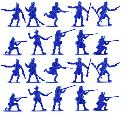 Accurate U.S Militia set #2 - 20 unpainted 54mm toy soldiers in mid blue
