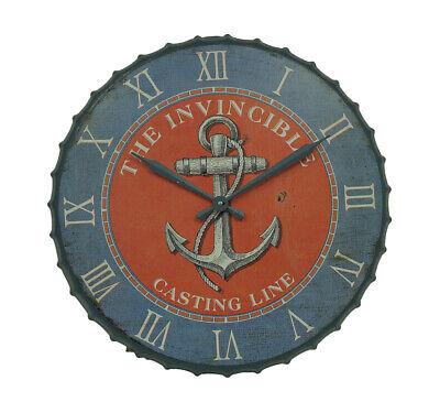 Zeckos Blue and Orange Nautical Anchor 23 inch Bottle Cap Wall Clock