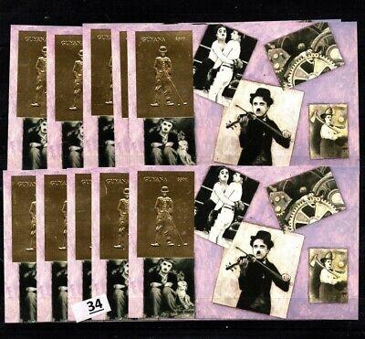 / 10X GUYANA - MNH - GOLD - C. CHAPLIN, CINEMA, GOLF, MUSIC, BOXING