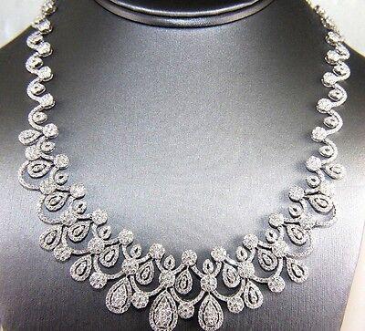 Oval Graduated Filigree Curve Diamond Fashion Necklace 18K White Gold 23.10Ct