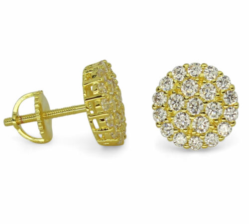 Iced Cluster Cz Studs 14k Gold Plated Screw Back Men Women Earrings Hip Hop