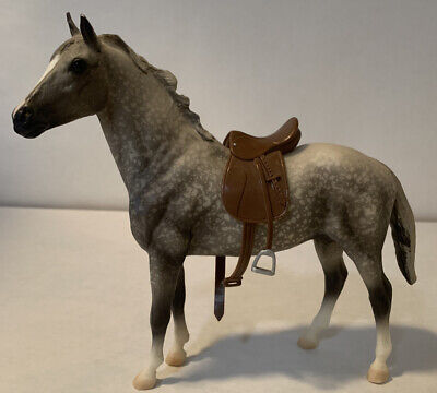 Breyer Molding White and Gray Horse w/ Brown Saddle