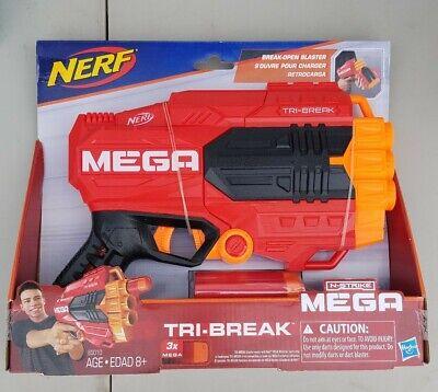Nerf N Strike Mega Tri Break Kids Pretend Play Toy Blaster Hand Gun with Darts